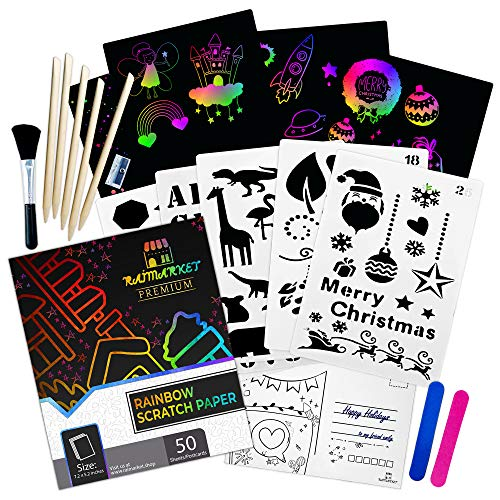 Raimarket Scratch Paper Art for Kids 64 Pcs, Rainbow Magic Boards Sheet with Stylus for Party,...