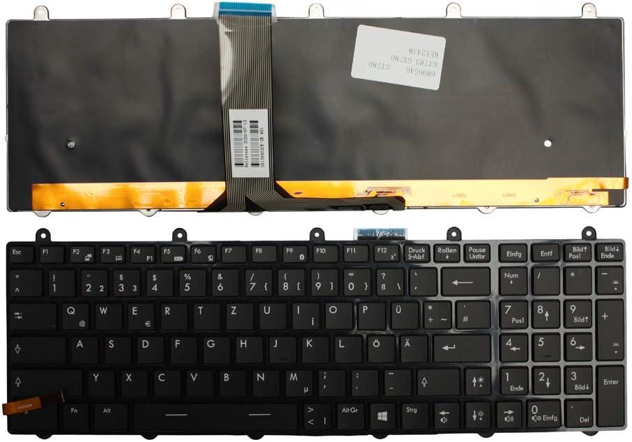 Keyboards4Laptops Alemán Marco Negro Brillante Retroiluminada Negro Windows 8 Teclado de Repuesto para Ordenador portátil Compatible con MSI Gaming GT70 Dragon Edition 2