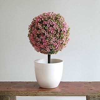 Haihuic Árboles de Bola de arbustos de Topiary Artificial de 25 cm Mini Plantas de Mesa de imitación con macetas Blancas para el hogar, baño, decoración de la casa Rosado