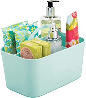 mDesign Plastic Portable Storage Organizer Utility Caddy Tote, Divided Basket Bin with Handle, for Bathroom, Dorm Room - H...
