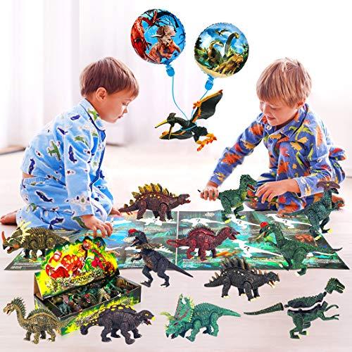 Sinoeem 12er-Packung Dinosaurier Spielzeug Set Abnehmbare und Zusammengebaute Pädagogische Spielzeug Dinosaurier Realistische Dinosaurier Welt mit Dinosaurier Einführung Karte