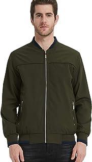 Pishon Men's Reversible Jacket Zip Windbreaker Light Travel Outerwear Golf Jackets