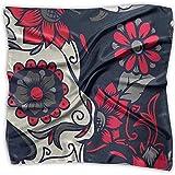 Uridy Lady Ideal Gift - Bufanda de seda Mujer Satén cuadrado Pañuelo en el cuello Cuello Bufanda Moda Rosa Azúcar Calavera Flores Grande Ligero Pañuelo suave