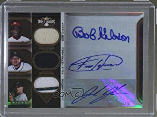 Bob Gibson; Felix Hernandez; Josh Johnson #/27 (Baseball Card) 2011 Topps Triple Threads - Autograph Relic Combos - Sepia #TTARC-15