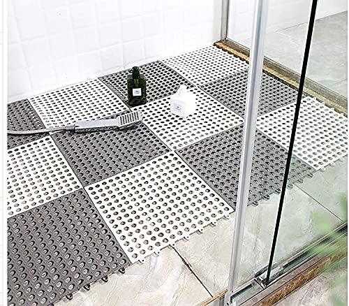 ybaymy お風呂マット 滑り止め バスマット 30X30CM 防カビ 浴室マット すのこ 洗い場マット 浴槽マット 大判 転倒防止 介護用 24枚 (グレー)