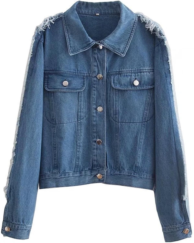 JudyBridal Womens LongSleeve Jacket Button Down Denim Coats bluee