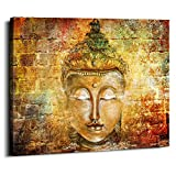 Estatua de Buda amarilla para pared abstracta retro Zen pósters modernos decoración del hogar sala de estudio recámara lienzos pintura murales de loto colgar imágenes de decoración estirada 76 x...