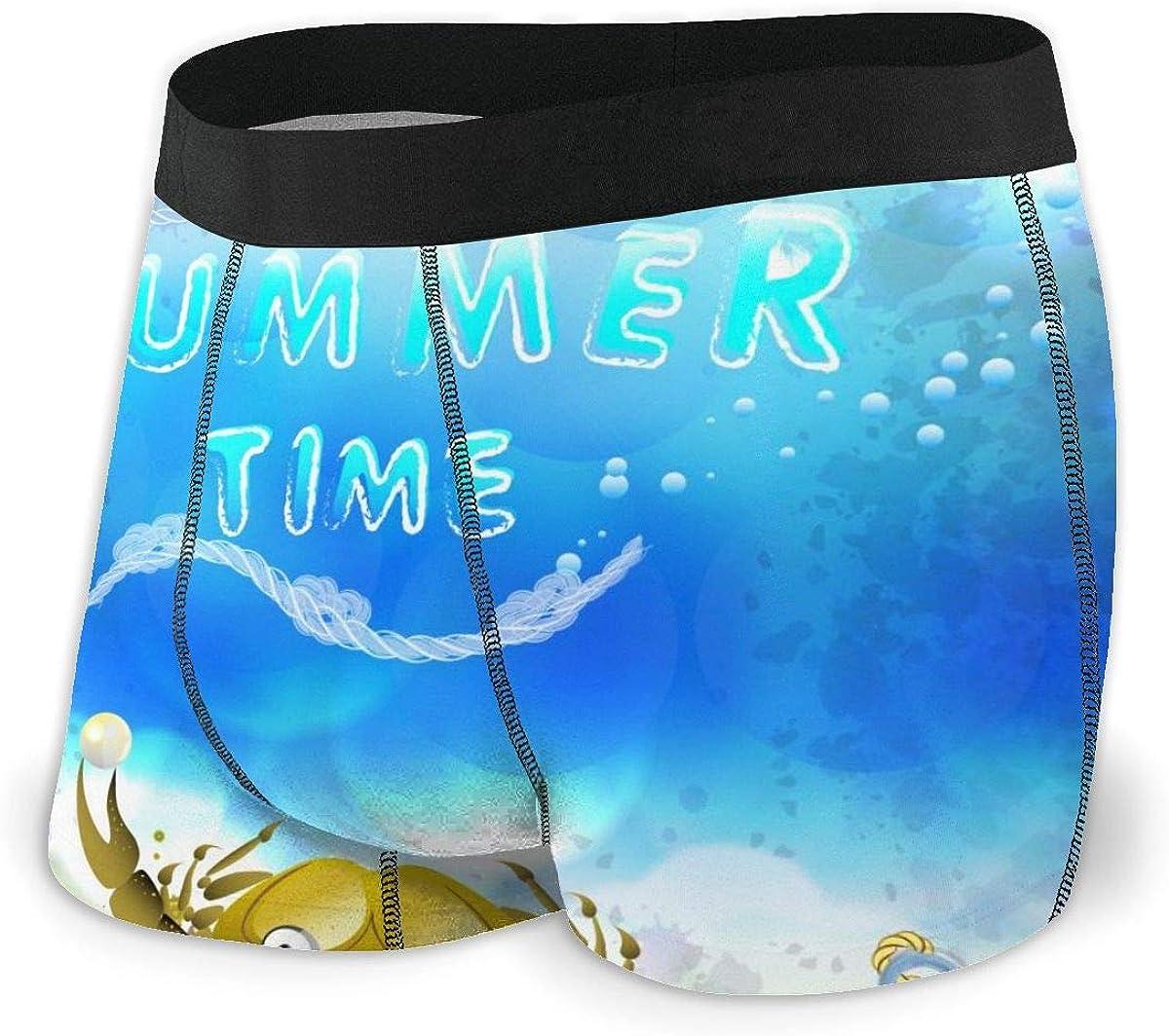 Mens Boxer Briefs Unique Beach and Bright Sea Breathable Underwear