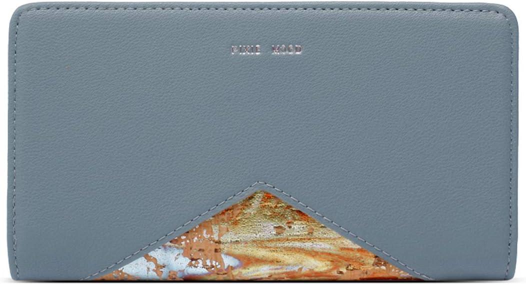 Sophie Simple Elegant Flat 8 x 5 Vegan Leather Snap Closure Wallet Mineral Blue/Cork
