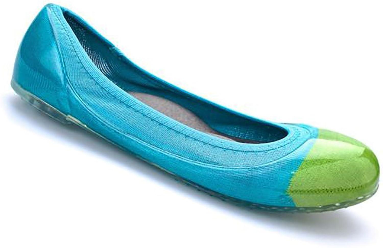 Ja-vie Comfy Jelly Knit Flats, Parred Green Cap blueebird