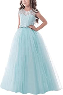 Girls Pageant Ball Gowns Kids Chiffon Embroidered Wedding Party Dress