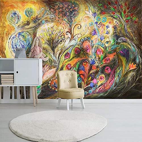 RTYUIHN 3D Wallpaper Mural Retro Abstract Hand-Painted Phoenix Oil Painting Living Room Bedroom Living Room Modern Wall Art Decoration