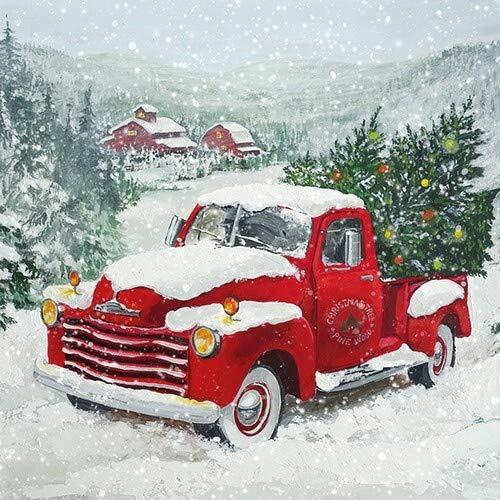 20 Servietten Auto mit Weihnachtsbaum als Tischdeko für den Winter und Weihnachten 33x33cm
