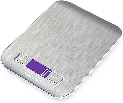 GPISEN Smart Digital Balance avec écran LCD pour Cuisine en acier inoxydable, 5 kg/11lbs, Balance de alimentaire mult...