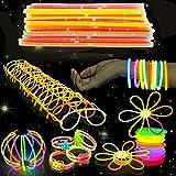 543 Pack - 250 Knicklichter Leuchtstäbe, 293 Verbinder - Armbänder, Halsketten, Leuchtbrillen,...