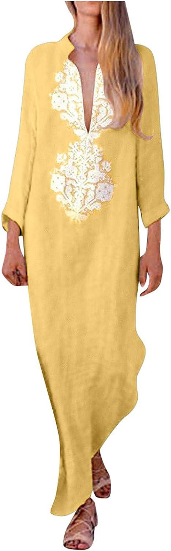 Women Maxi Dress Summer Long Sleeve V Neck Casual Loose Long Dresses Elegant Split Hem Baggy Kaftan Dress Beach Sundress