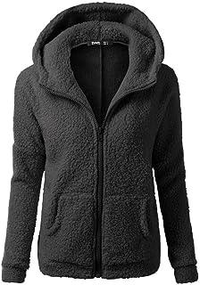 Misaky Women's Fleece Zipper Up Hoodie Jacket Warm Winter Wool Coat