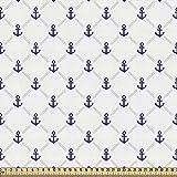 ABAKUHAUS Ancla Tela por Metro, Crucero Yate, Decorativa para Tapicería y Textiles del Hogar, 2M (148x200cm), Azul Marino Blanco