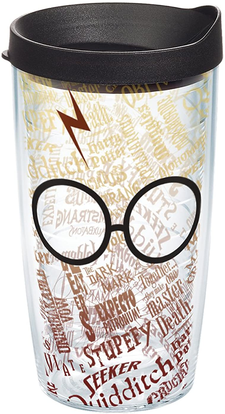 ぬれた受け入れたプレビュー(470ml, Clear) - Tervis 1209497 Harry Potter Glasses And Scar Wrap Tumbler with Black Lid, 470ml, Clear