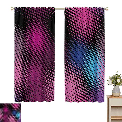 hengshu Modern Decor Light Blocking Curtains for Living Room Digital Geometric 80s Fashion Like Dots Rainbow Ombre Seem Image Home Decor Sliding Door Curtains W72 x L72 Inch Pink Blue and Black