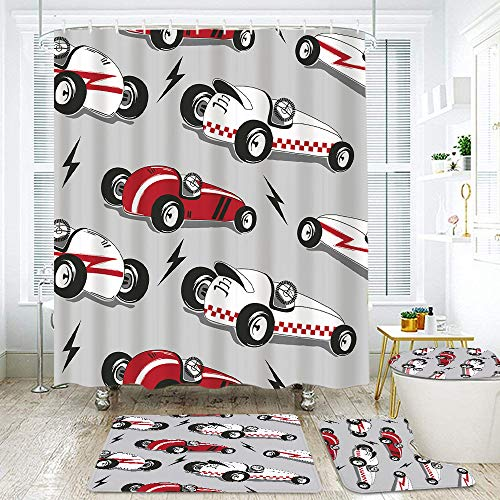 COVASA 4Pcs Shower Curtain Sets with Non Slip Rugs,Toilet Lid Cover and Bath Mat,Vintage Race Cars,Waterproof Durable Bathroom Decor Bath Curtains 12 Hooks Included