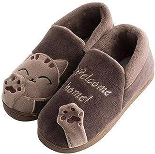 Vorgelen Zapatillas de Estar por Casa para Hombre Mujer Invierno Interior Zapatos de Algodón Caliente Suave Antideslizante...