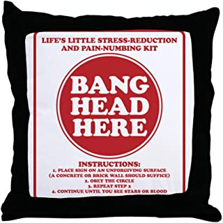 CafePress-Bang Head Here Stress Reduction Kit-Throw Pillow