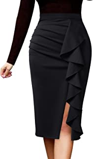 Women Elegant Ruched Ruffle Slit Work Business Party Pencil Skirt