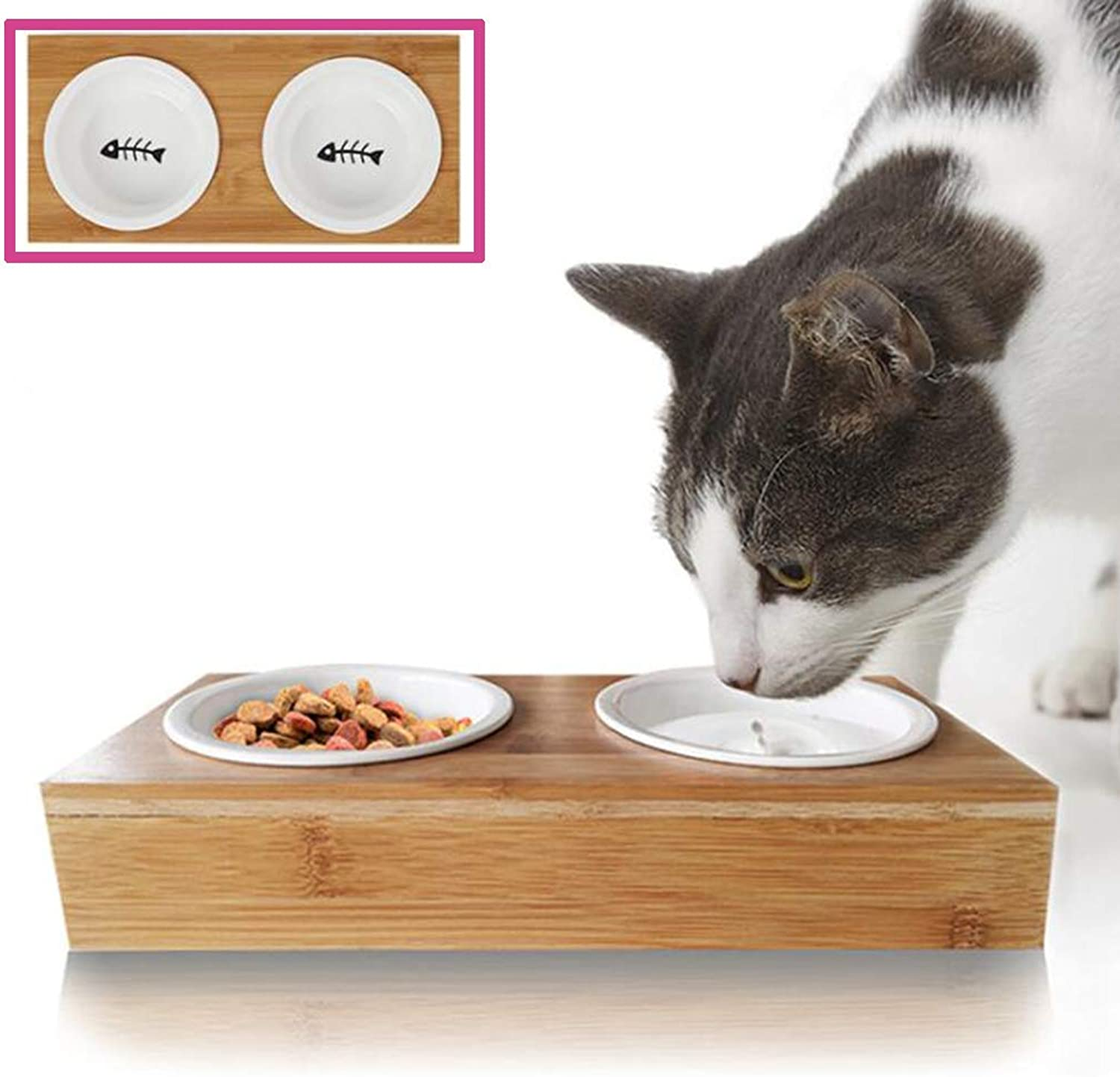 Bamboo Elevated Pet Bowl Dog Cat Food Bowls with 2 Ceramics Bowls Suit for Small and Medium Dogs and Cats Bamboo Elevated Pet Feeder