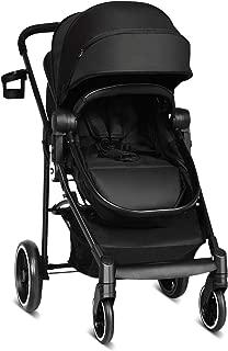 INFANS 2 in 1 Baby Stroller, High Landscape Infant Stroller & Reversible Bassinet Pram, Foldable Pushchair with Adjustable Canopy, Storage Basket, Cup Holder, Suspension Wheels (Black)