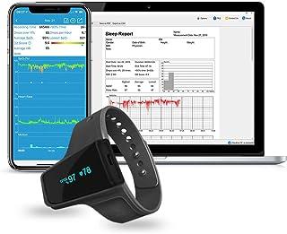 Monitor de oxígeno para el sueño Viatom con alarma de vibración e informe de PC para ronquidos y apnea del sueño, oxímetro de muñeca con aplicación en español