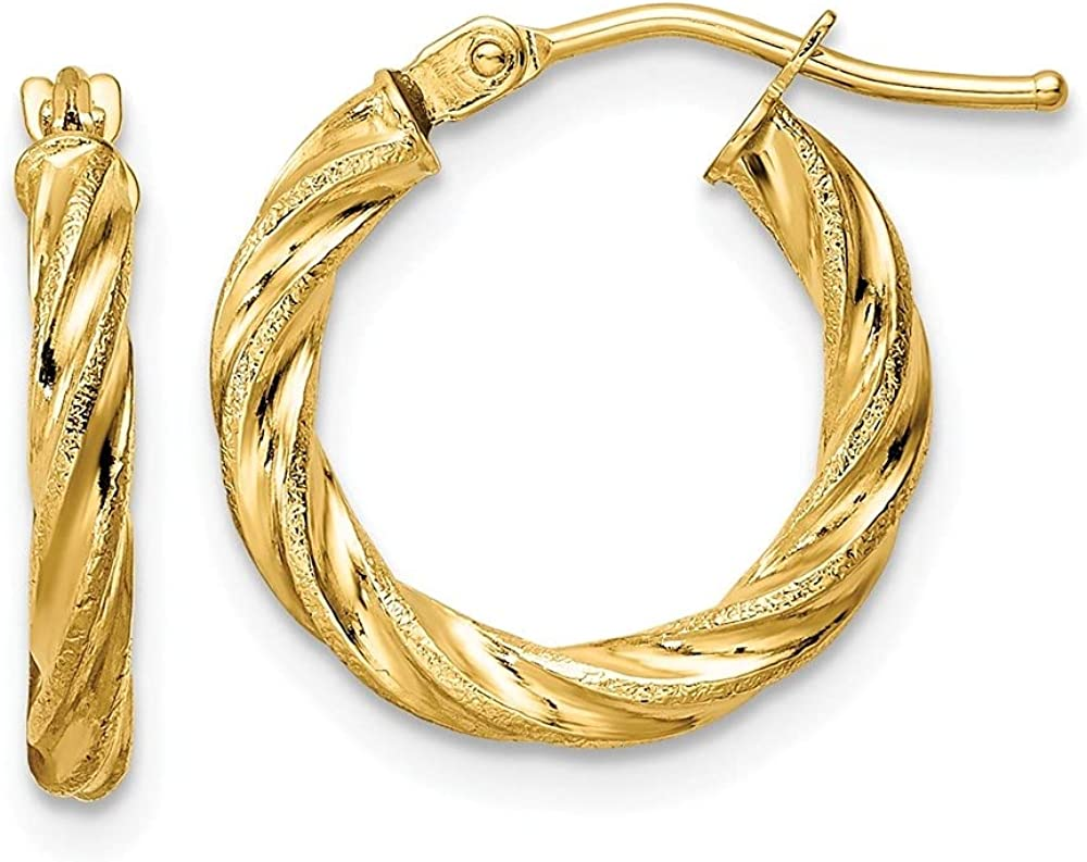 14k Yellow Gold Courier shipping free shipping Polished Hoop Textured Twisted Earrings Boston Mall