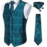 DiBanGu Men's Paisley Waistcoat and Necktie Pocket Square Cufflink Teal Vest Suit Set