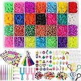 BAKHK 12000 DIY Gummibänder Set für Armband 28 Farben Gummibänder Basteln Starter Set mit Webrahmen, Perlen, Clips, Haken usw