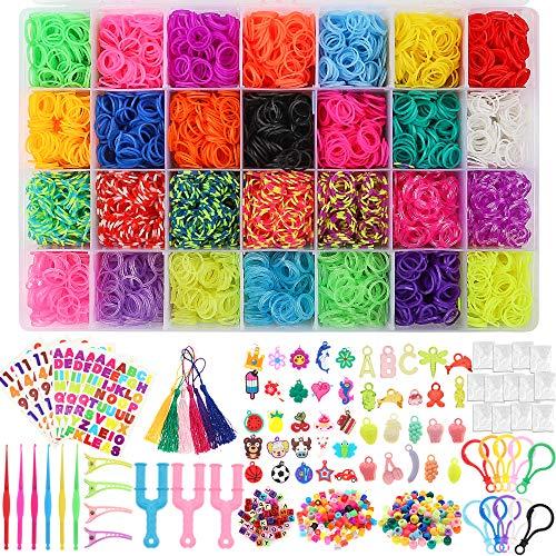 BAKHK 12000 DIY Gummibänder Set für Armband 28 Farben Gummibänder Basteln Starter Set mit Perlen, Clips, Haken usw