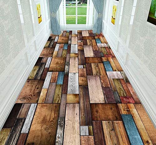 XOCKYE Alfombra Pasillo Corredor De Colores Imitación Madera 3D Modelo Diseño Contemporáneo Zona Alfombras Antideslizante Resistente A Las Manchas -Los 1.2x4m