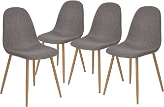 GreenForest Dining Chairs Set of 4,Metal Legs Fabric Cushion Seat Back Modern Dining Side Chairs,Gray