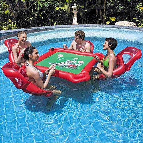 MRWJ Juego de Mesa Inflable para Juegos de Agua con colchón de Aire con 4 sillas, Piscina Ideal, Juego de Billar, Juegos de póker para Adultos, Rojo (53.4 x 53.2 Pulgadas)