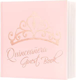 "Calculs Polaroid Quinceanera Guest Book 8.5"" Square 15th Birthday Guest Registry Books, Pink Cover, Rose Gold Foil Stamping, Blank White Pages"