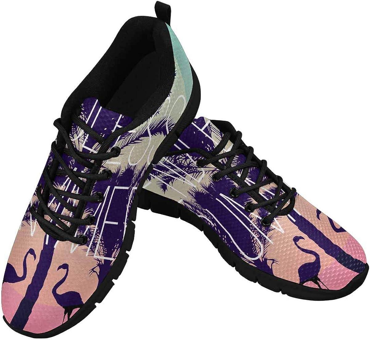 INTERESTPRINT Summer Plam Tree Women's Athletic Walking Shoes Comfort Mesh Non Slip