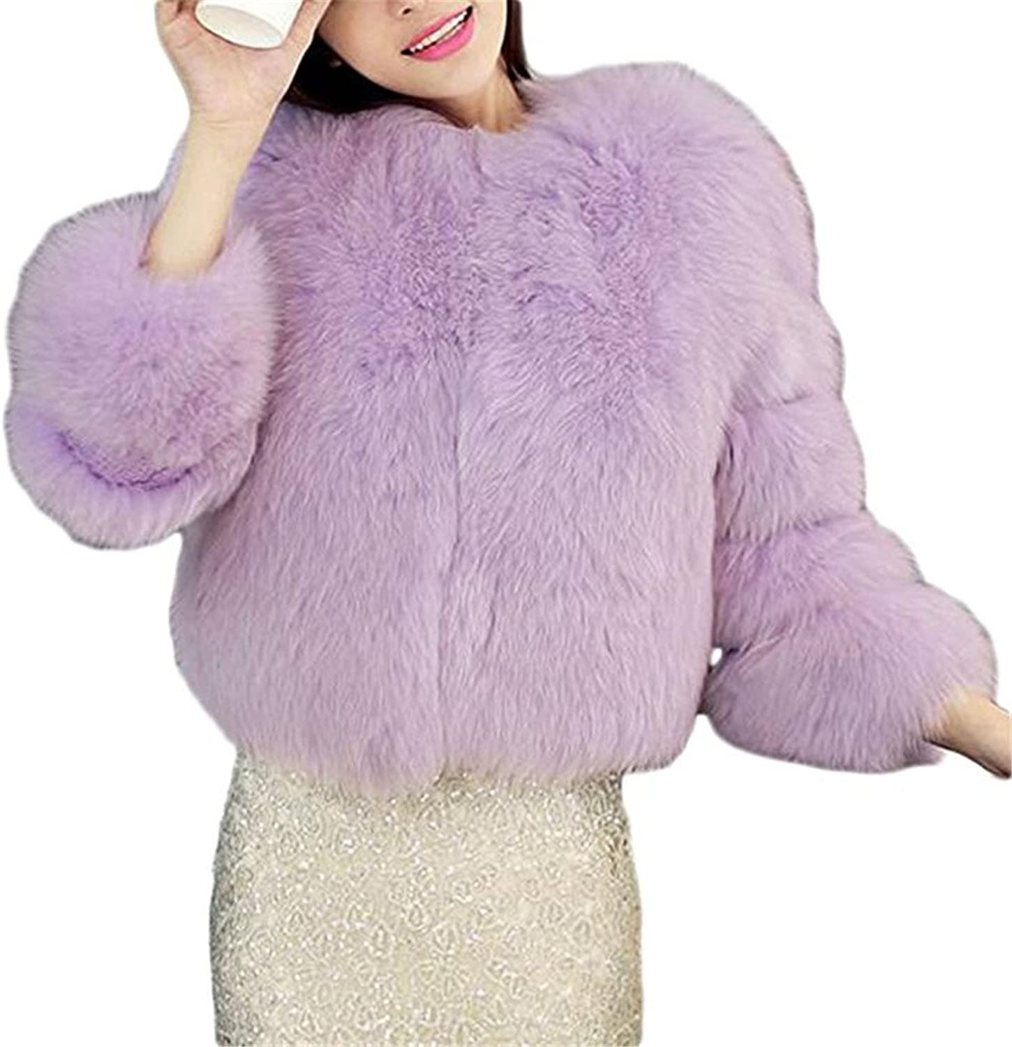 Womens Solid color Thick Luxury Winter Fox Faux Fur Short Coat Jacket