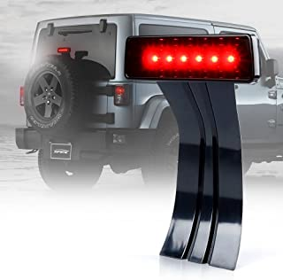 Xprite LED Third Brake Lights Tail Lights w/Smoke Lens High Mount Stop Lights for 2007-2018 Jeep Wrangler & Wrangler Unlimited JK