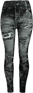 Pantalones de Jeans de Imitación, SUNNSEAN de Damas y Mujeres Colores Caderas Super Elásticos Adelgazan los Pantalones de ...