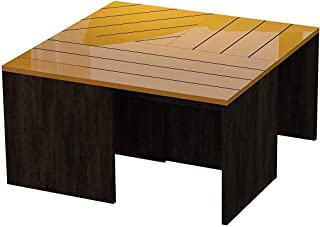 Wood & Style Furniture Cameron Coffee Table 31'' x 17'' x 31'' Dark Brown & Mustard Premium Office Home Durable Strong