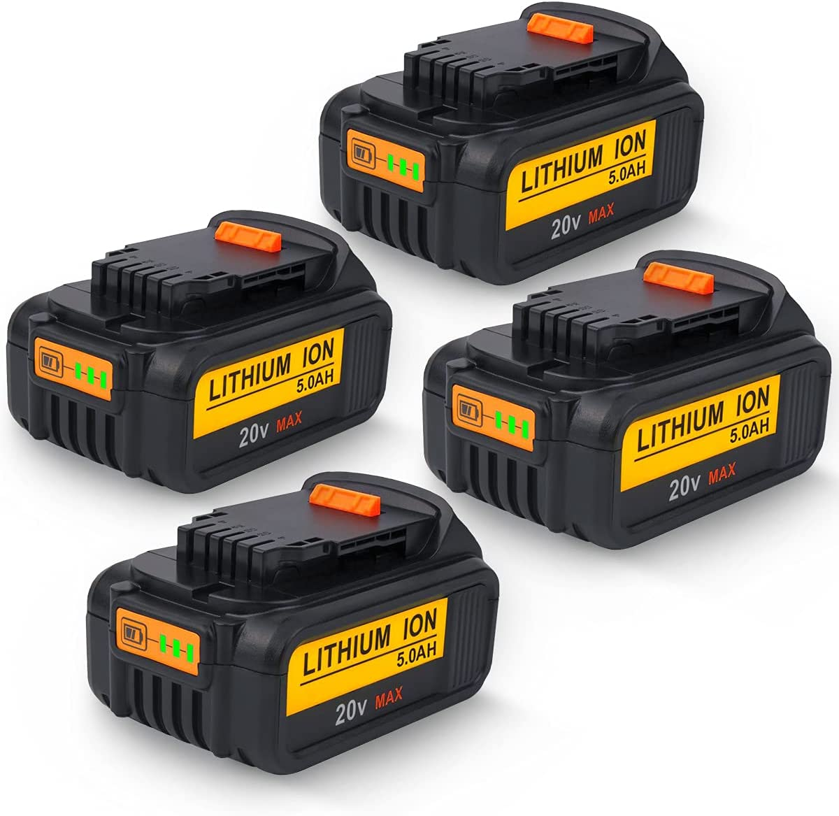 4Pack 5.0Ah DCB205 DCB204 Battery Replacement Bat Free Shipping New for Dewalt OFFicial store 20V