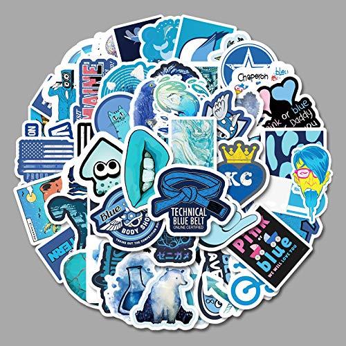 ZXXC 61Pcs Blue Fresh Graffiti Stickers Luggage Scooter Car Stickers Waterproof Stickers