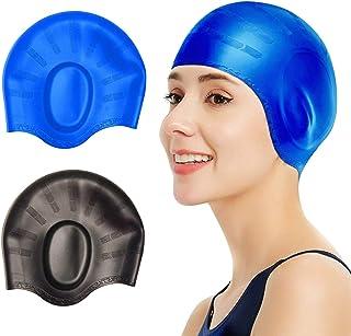 2 Pcs Swim Caps Cover Ears, Durable Silicone Non-Slip Waterproof Swimming Caps for Women Men, 3D Ergonomic Design Pool Hat...