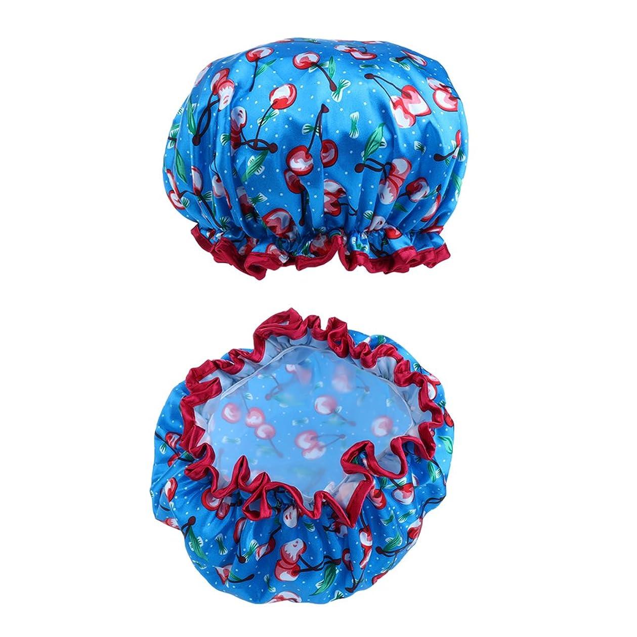 帽子群れモジュールシャワーキャップ バス帽子 女性 防水 再利用可 7色選べる - 青