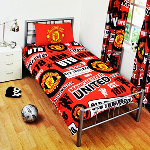 Manchester United FC Childrens/Kids Official Patch Football Crest Duvet Set (Single) (Red)