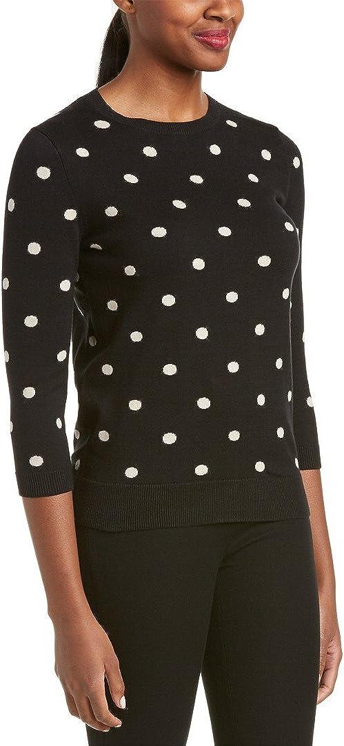 Joan Vass Women's Classic Polka Dot Sweater